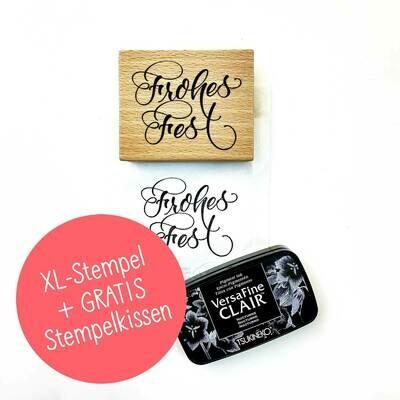"XL-Stempel ""Frohes Fest"" + GRATIS Stempelkissen"