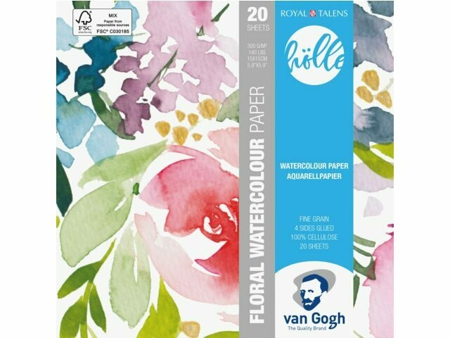 Van Gogh Frau Hölle Floral Aquarellpapier – 15 x 15 cm
