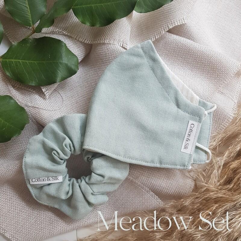 Ladies Mask & Scrunchie Set (Linen Rayon) - Meadow