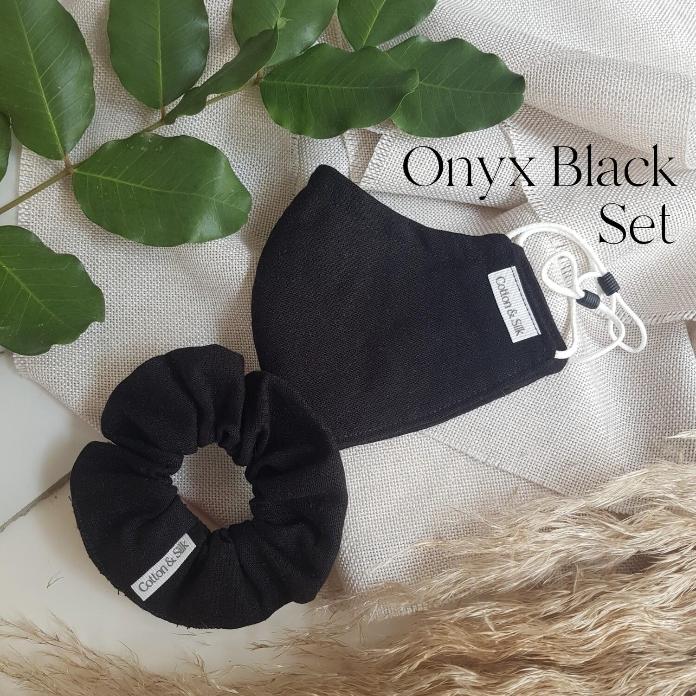 Ladies Mask & Scrunchie Set (Linen Rayon) - Onyx Black