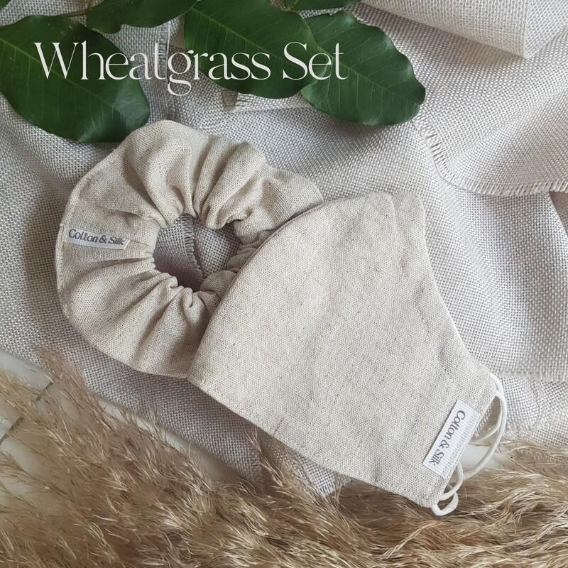 Ladies Mask & Scrunchie Set (Linen Rayon) - Wheatgrass