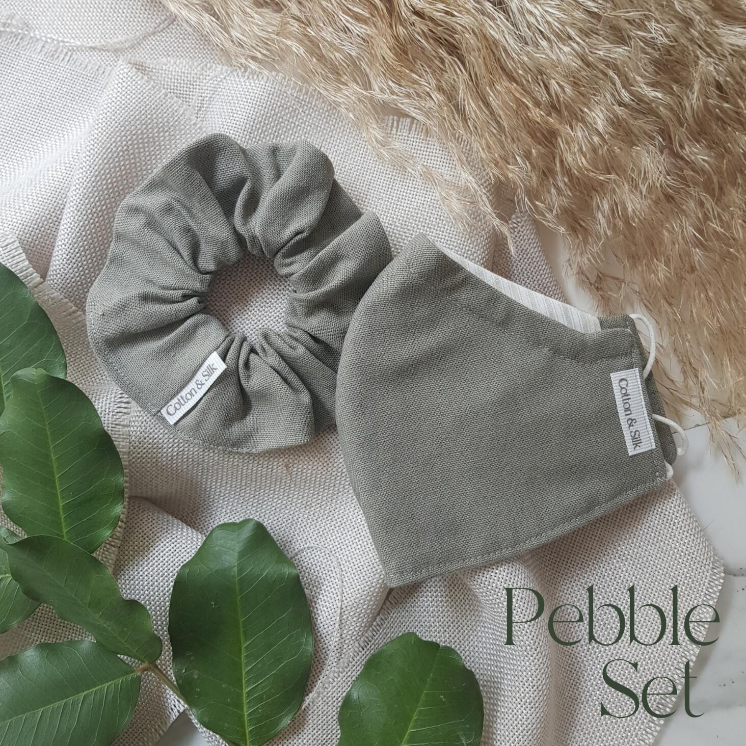 Ladies Mask & Scrunchie Set (Linen Rayon) - Pebble