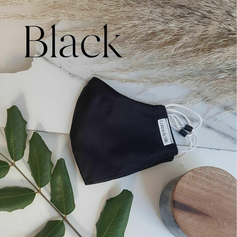 100% Pure Silk Face Mask - Black
