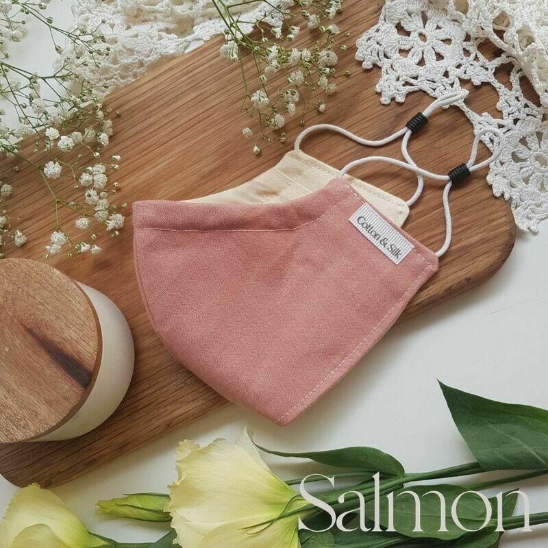 Ladies Mask (Irish Linen & Silk) - Salmon