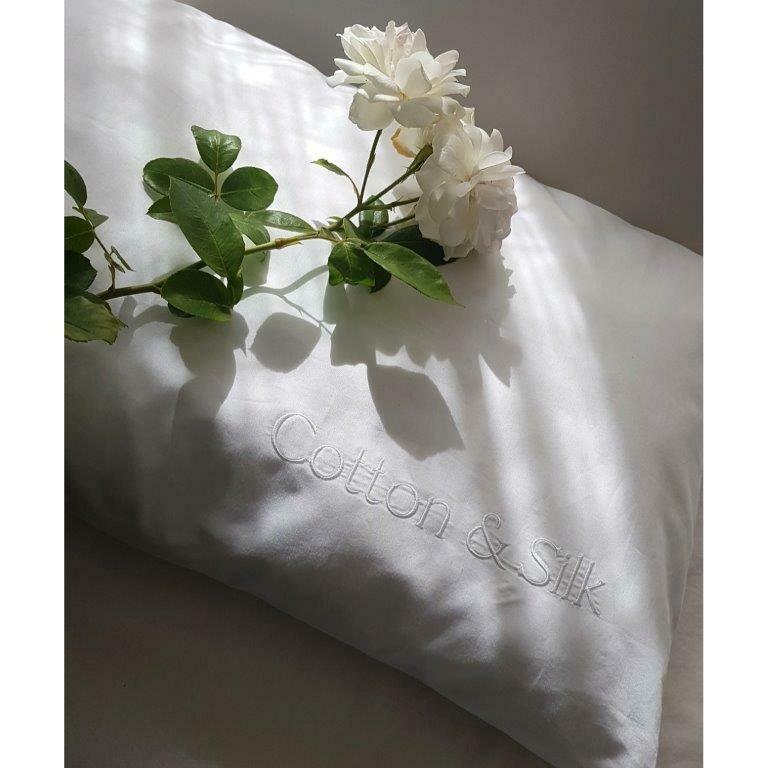 100% Pure Silk & Egyptian Cotton Combo Pillowcase - White