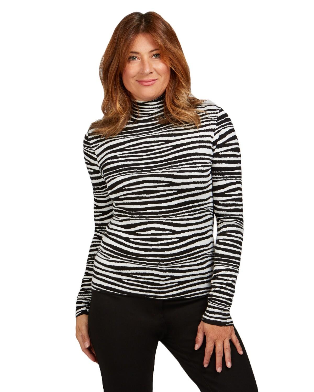 Zebra Stripe Mock Neck