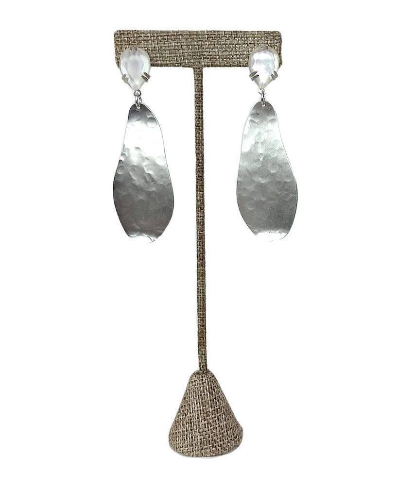 Gem & Silver Post Earrings