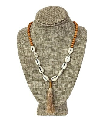 Shell and Wood Necklace with Tassle