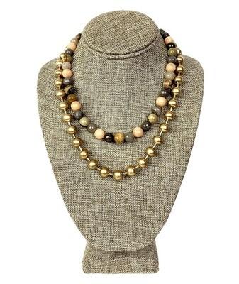 Ceramic,Glass & Metal Beaded Necklace