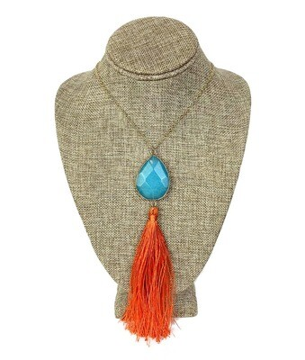 Long Necklace with Acrylic Pendant and Tassle