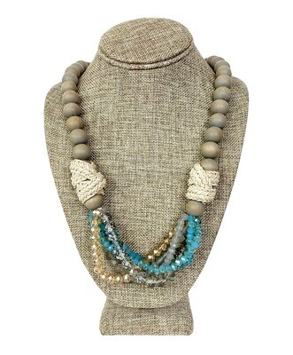 Wood Beads with Rope and Crystal Accents