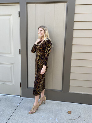 Pantera Leopard Wrap Dress to Knee