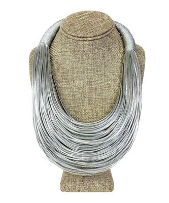 Metallic Fabric Multicord Necklace