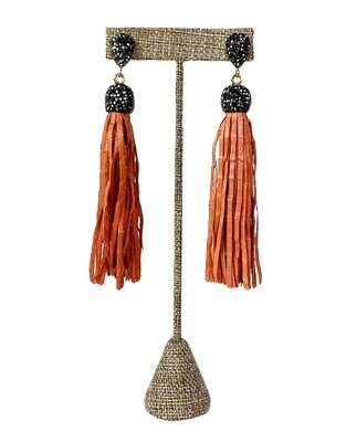 Leather Tassel  Post Earrings with Sparkling Black Accents