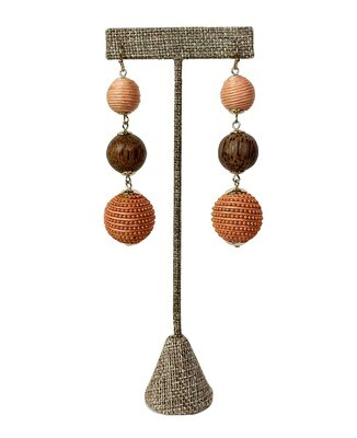 Mixed Wood and Corded Bauble Post Earrings