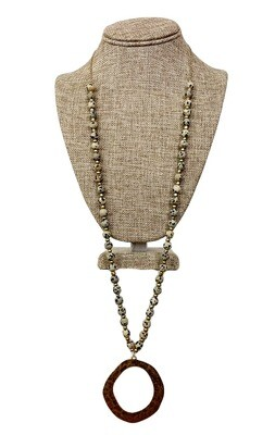 Speckled Stone Beaded  Necklace with Antique Gold Pendant