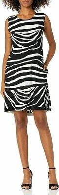 Sleeveless Zebra Swing Dress