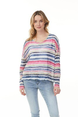 Debbie's Drop Shoulder Stripe Mesh Top