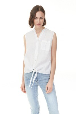 Amy's Sleeveless 'White' Front Tie Linen Top