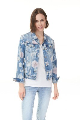 Stretch Floral Printed Jean Jacket