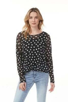 Polka Dot Drop Shoulder Mesh Top
