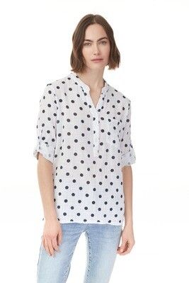 Printed Rolled-Up Sleeve Cotton Dot