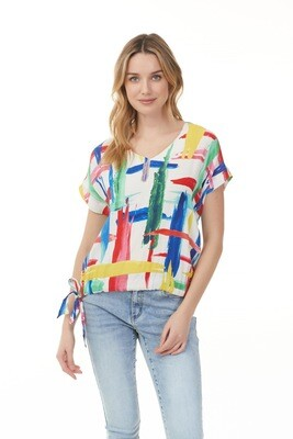 Longboat Key Side Tie Crepe Top