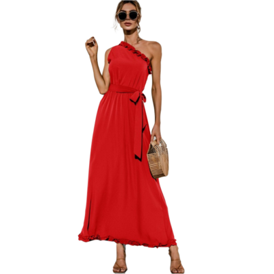 Red one shoulder maxi