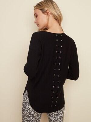 Grommet Back Sweater -Black