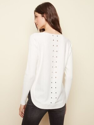 Grommet Back Sweater -Cream