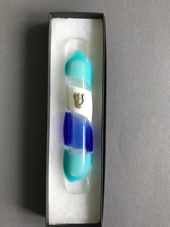 Blue hues mezuzah series 6