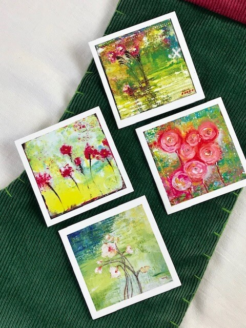 "Mini Floral Cards - 3"" x 3"" - 4 pack"