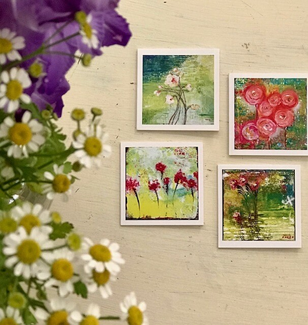 """Floral Mini Cards - 3""""x3"""" - 8 pack"""