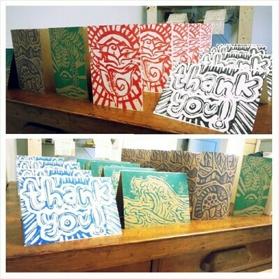 Hand-Printed Greeting Cards - 5 pack