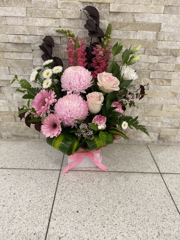 PINK & PEACHY BOX ARRANGEMENT