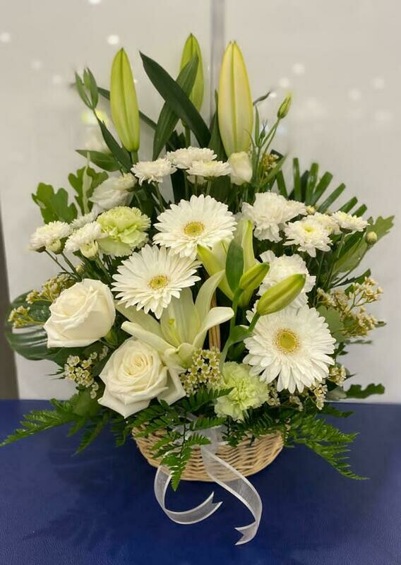 SYMPATHY BASKET WHITE AND GREEN