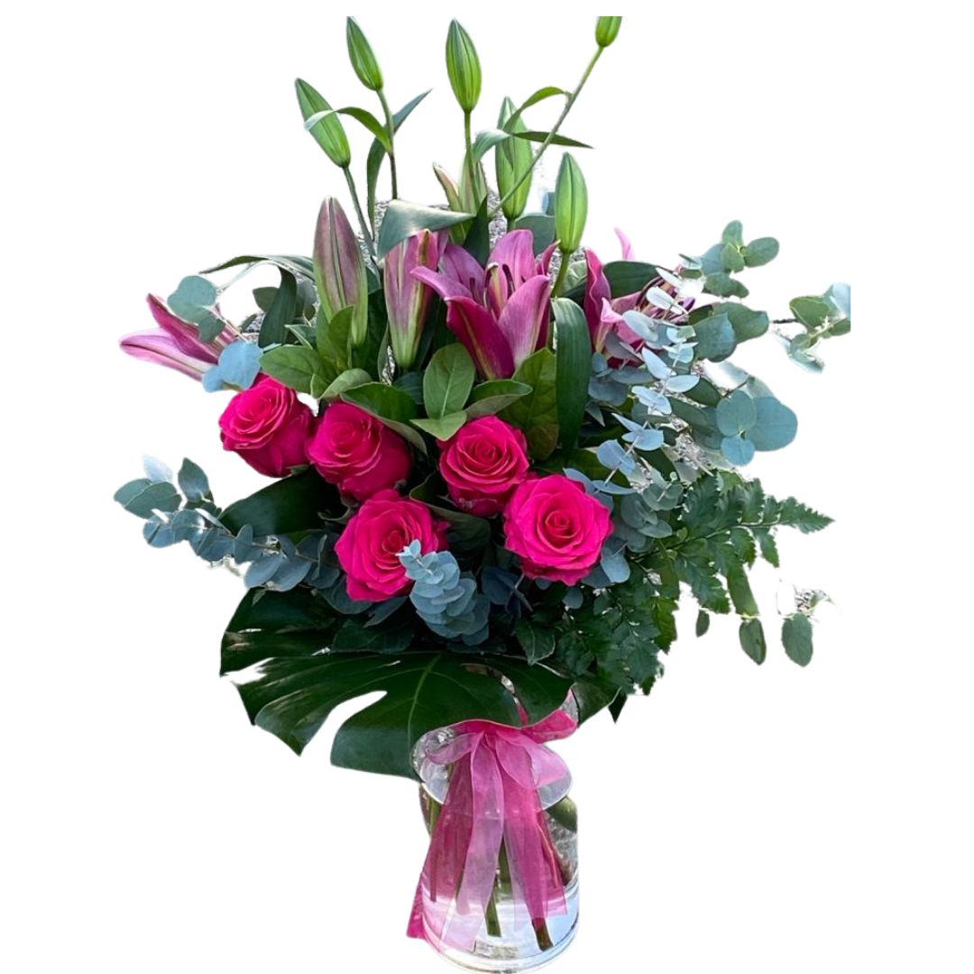 PINK LILLIES AND ROSES BOUQUET