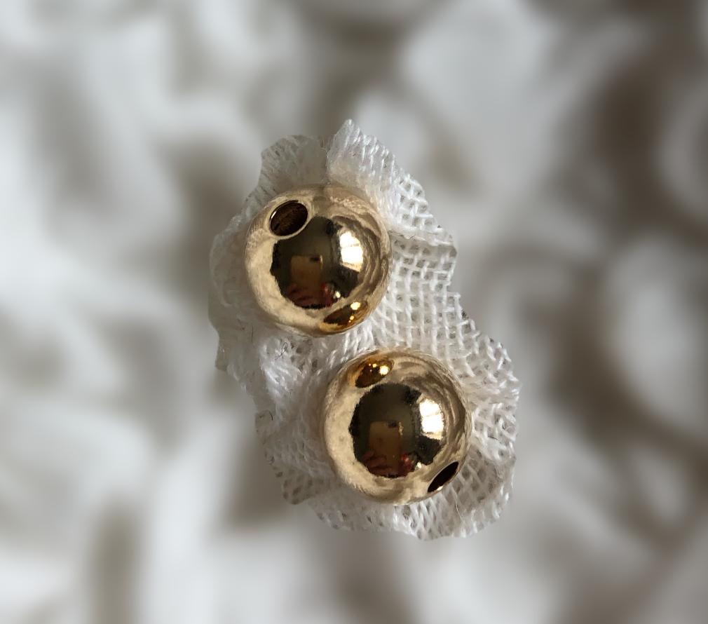 10 mm glat guld double perler 4 stk. pr pose