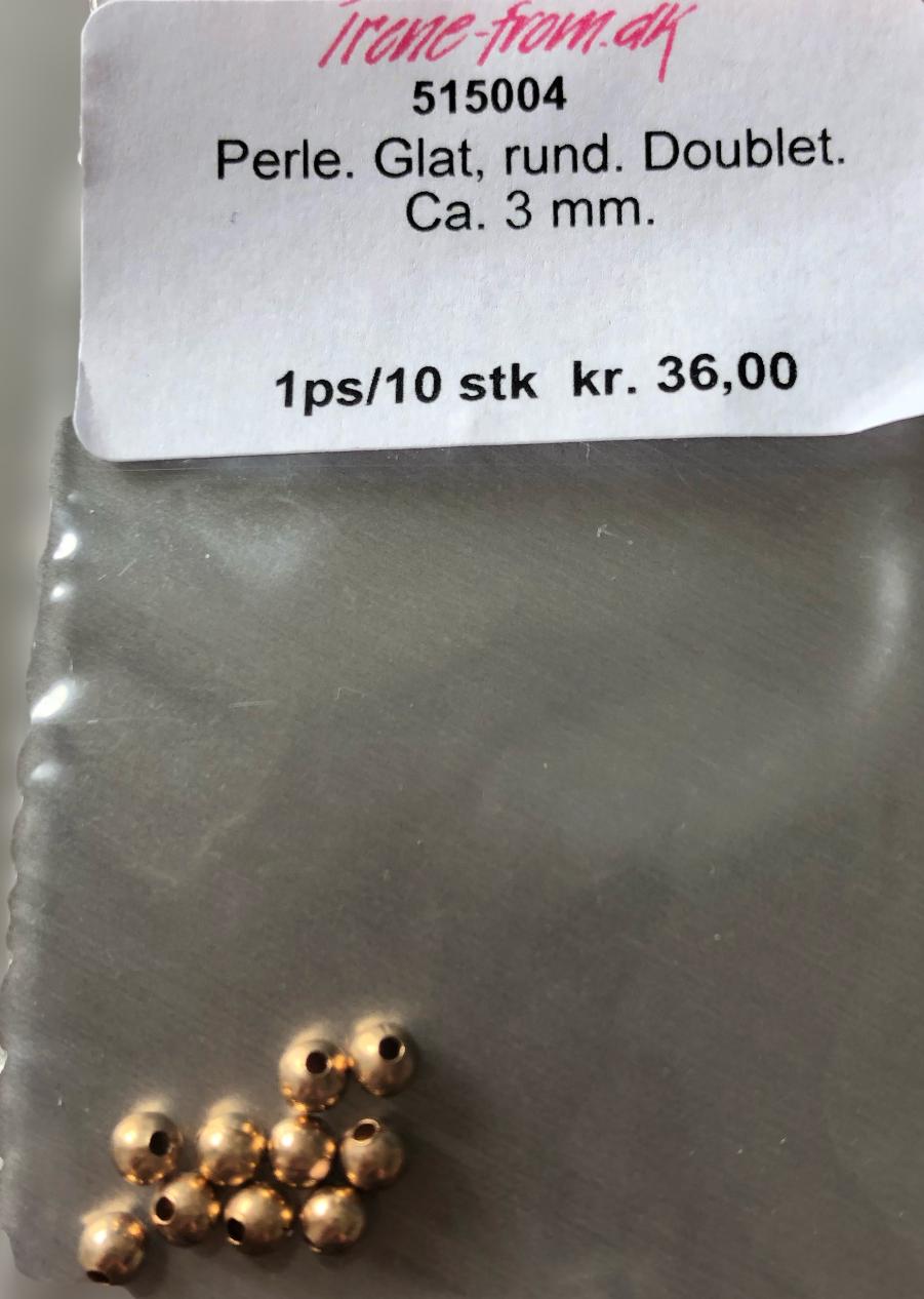 3 mm Glat rund gulddouble perle 10 stk. pr pose