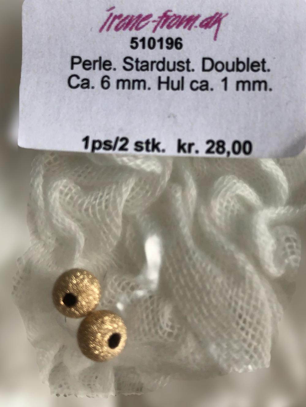 6 mm stardust guld double rund perle. 2 stk. pr pose