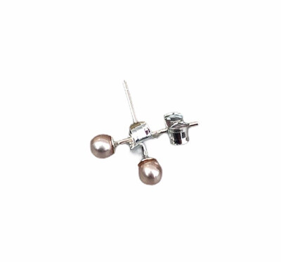 Perleørestik Sart Rosa 3,5-4 mm. Sterlingsølv