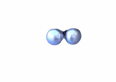 Perleørestik Lys Grå 9 mm. Sterlingsølv