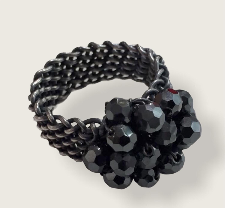 Håndflettet fingerring I Sterlingsølv med  sorte onyx  perler