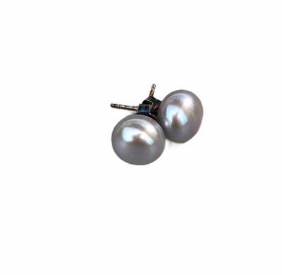 Perleørestik Lys Grå 10 mm. Sterlingsølv