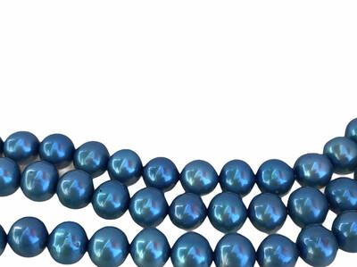 Ferskvandsperle Blå. Næsten rund. ca. 7 mm 1 streng