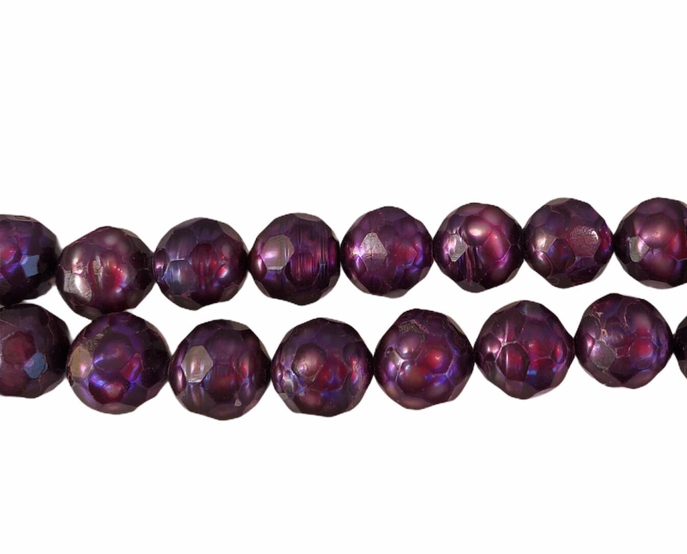Ferskvandsperle Mørk lilla. Faceteret Pinable ca. 8-8,5 mm 1 Streng