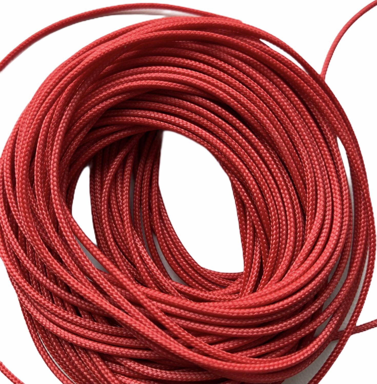 Polyester Knyttesnor. ca. 1,4 mm fast. Rød 10 m