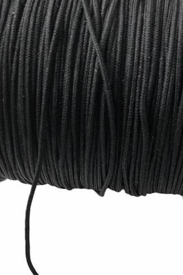 Polyester snor. 1 mm. Sort. ca. 50 m
