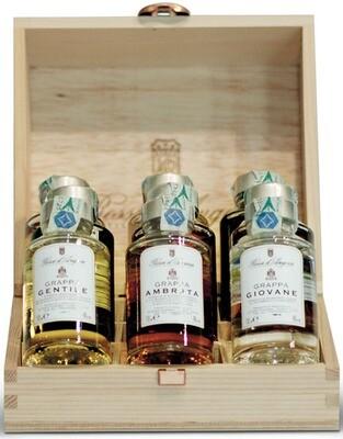 CASSETTA LEGNO | 9 flesjes likeur en grappa
