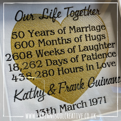 Golden Wedding Anniversary Embroidery